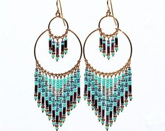 Amethyst Chandelier Earrings, Purple Beaded Earrings, Turquoise Chandelier Earrings, Boho Earrings, Bohemian Earrings, Dangle Earrings, Hoop