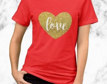 Gold Heart Love - Valentine's Day Shirt - Gold Glitter Design