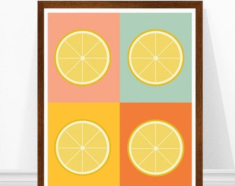 Lemon Print, Retro Kitchen Art, Modern Kitchen Art, Scandinavian Design, Lemon Art, Citrus Print, Kitchen Wall Art