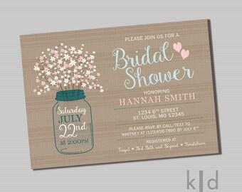 Rustic Bridal Shower Invitation- PRINTABLE FILE