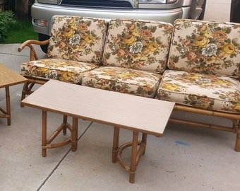 Calif-Asia Rattan Sectional Sofa with Coffee and Side Table Milo Baughman Mid Century Modern