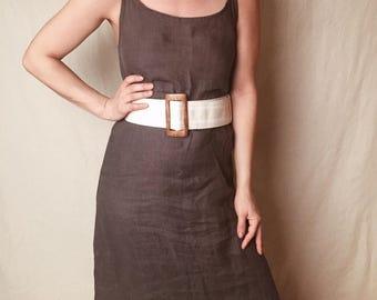 70's WOVEN LINEN BELT // White Boho Belt Minimalist Wood Belt Buckle Wide Belt