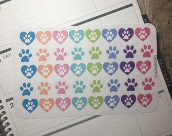Pet Paws Stickers for your Erin Condren Life Planner, Filofax, Plum Planner & more!