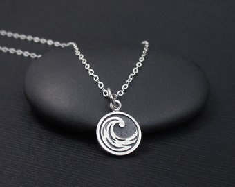 Water Element Necklace Sterling Silver Cancer, Scorpio, Pisces Element Necklace, Ocean Wave Necklace, Water Symbol Necklace, Four Elements