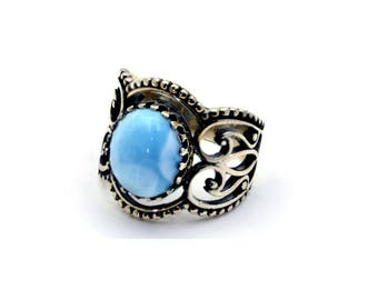 Larimar Stunning 12X10 Corona Ring, Oxidized .925 Sterling Silver Size 7