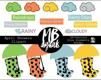 RAINY DAY clipart, Clouds, Rain Boots, Umbrellas, Cloudy, Rainy Days, Playing in the Rain, Stormy Weather