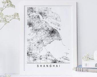 SHANGHAI MAP - Minimalist Shanghai Art Print, Customizable City Map, High Quality Giclee Print, Modern Map Art