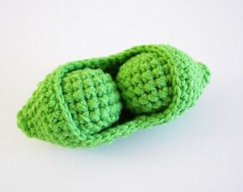Crochet Peas in a Pod, Two Peas in a Pod Plushy, Crochet Play Food