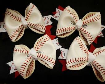 Real Baseball Hair Bows - Baseball Season - Toddler Baseball Hairbow - Adult Baseball Hairbow - Baseball Barrette - Infant Baseball Hairbow