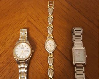 Vintage 4 watch lot Citizen Bulova Geneva