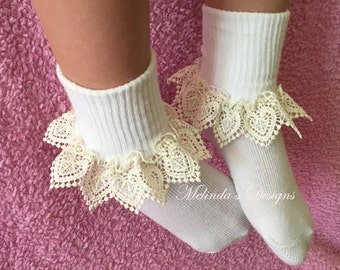 Frilly Socks Lace Socks Ruffled Socks Little Girl's Socks Girl's Socks Toddler Socks Newborn Socks Christening Socks Infant Socks Baby Gift