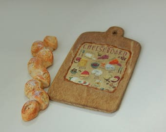 Handmade Wood Cutting Board and Pain d' Epi French Bread Miniature 1/12 scale, Dollhouse Collector Gift, Bakery Breads