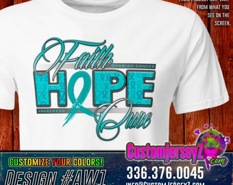 Faith Hope Cure Ovarian Cancer Awareness Dri-Fit.  Sublimated short sleeve 100% poly dri-fit. Teal Blue Ribbon.  Item #AW1