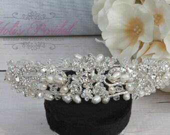 Swarovski Tiara with Fresh Water Pearls, Crystal Tiara ,Wedding Tiara ,Crown , Princess Tiara, Crystal Headpiece, Corona, XV Tiara