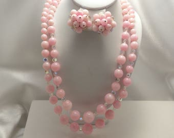 Vintage Laguna Signed Pink & AB Glass Plastic 2 Strand Demi Necklace, Earring Set