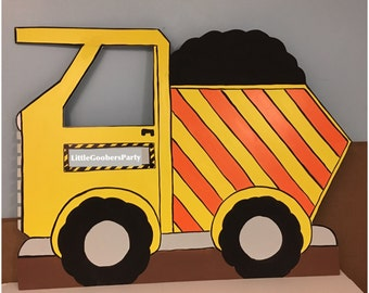 Construction Dump Truck Photo Prop Personalized (foam board) Construction Birthday Party, 1 Hand Painted Dump Truck Standee, Indoor Outdoor
