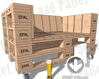 Make a Pallet Sofa from Instruction Plans. Modern Industrial / Loft Style Pallet Chair or Love Seat Idea for Home, Office or Outdoors