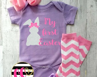 baby girls first easter outfit. pink and lavender set. double stacked bow. easter outfit