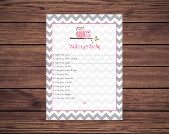 Pink Owl Wishes for Baby Card, Pink Grey Gray Chevron Owls Wishes for Baby Card, Well Wishes for Baby, Instant Download Printable