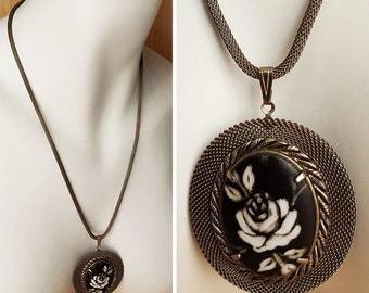 Vintage Rose Statement Necklace, Rose Bone Necklace, Etched Look painted Rose Pendant Necklace, Unique Rose Pendant Necklace