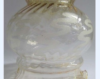 Large Vintage Amber Lustre & Optic Glass Ceiling Light Shade 50's 60's