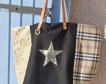 Creative patchwork tote bag canvas black/Scots beige/beige croco stars