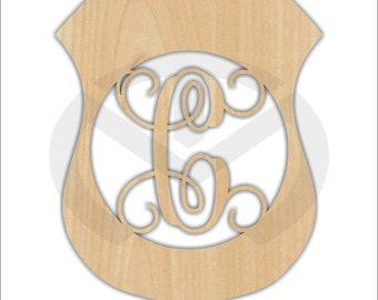 Unfinished Wood Police Badge Door Hanger Laser Cutout w/ Your Initial, Home Decor, Various Sizes, Script, Ready to Paint