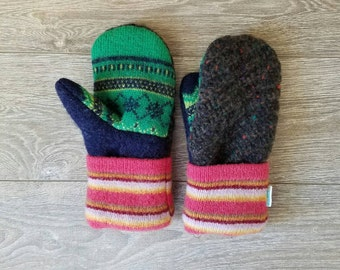 Crazy Combo Sweater Mittens //LoveWoolies Mittens //Fleece Lined