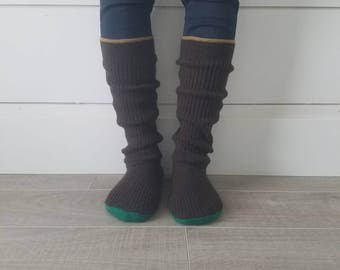 "Brown Ribbed Sweater Socks // Size 5-8, 17"" Tall // Cabin Socks // upcycled wool sweater // Washable // Thick felted wool sole"