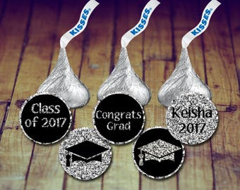 Hershey Kisses Stickers - Graduation Stickers, Graduation Kisses, Prom Kisses, Prom Stickers, Graduation Favors, Prom Favors, Class of
