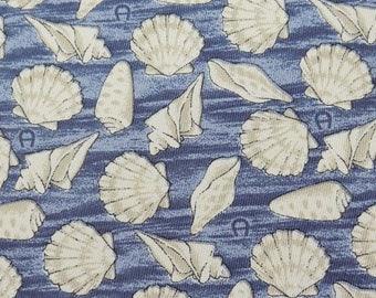 Aigner Tie Pure Silk Shells Sea Repeat Pattern Blue Vintage Designer Dress Necktie Made In Italy