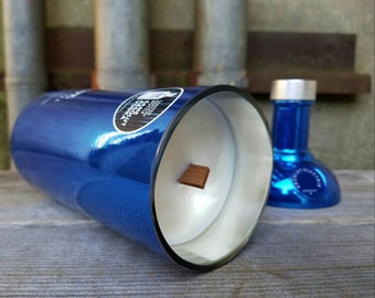 Unique Electric Blue Scented Candle, Upcycled Limited Edition Absolut Vodka Liquor Bottle
