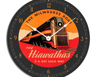 Art deco train clock. Orange and black 10 inch wall clock.  CL3008