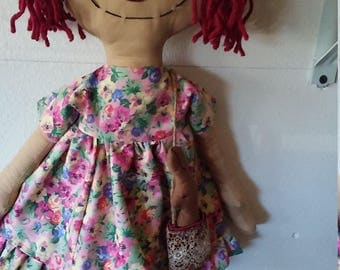 Primitive Raggedy Ann Doll with her chocolate bunny