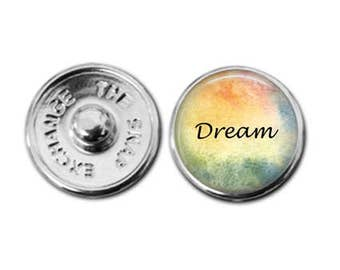 Dream, dream charm, snap charm, button charm, snap jewelry, snap bracelet, ginger snaps, inspirational charm, inspirational jewelry
