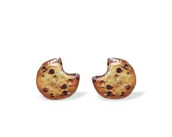 Cookie Earrings, Chocolate Chip Cookie Stud Earrings, Miniature Sweets Studs, Food Jewelry, Cookie, Surgical Steel Studs, Cookies, Quirky