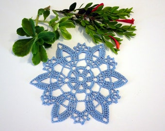 Blue Crochet Doily - Blue Snowflake Doily - Snowflake Crochet Doily - Winter Crochet Doily - Snow Doily - Snow Crochet Decor - Blue Doily