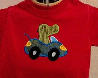 Alligator in a Sports Car Appliqued Tee Shirt