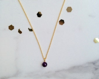 Minimalist chakra necklace amethyst bead pendant, 16K gold plated chain, eau de rose jewelry, handmade in Quebec
