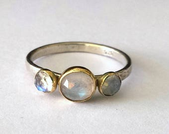 Moonstone unique engagement ring,14k gold moonstone ring,alternative engagement ring,gold and silver moonstone ring,unique anniversary ring