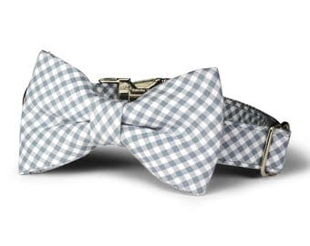 Gray Gingham Bow Tie Dog Collar, Dog Bow Tie Collar, Gingham Bow Tie Collar, Gray Dog Collar, Gingham Dog Collar, Preppy Dog Collar