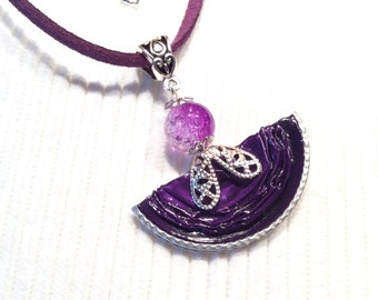 Purple Locket made with coffee capsules purple Nespresso and acrylic Crystal bead