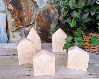 Wooden block houses - Set of 5 rustic wooden houses - Small wooden houses - Wooden village - Wooden house accents - Housewarming gift