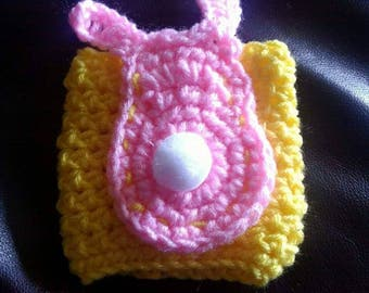 Yellow Crocheted Coffee Cozy with Pink Crocheted Bunny