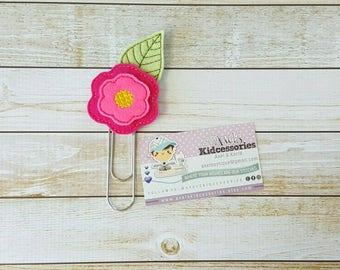 Wool Flower Planner Clip - Flower Paper Clip Bookmark