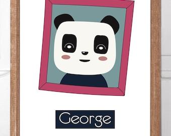 Personalised Childrens Wall Art Panda Snaps Series (Purple Frame)