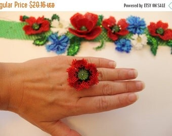 VALENTINE SALE Poppy Ring Red Flower Ring Seed bead ring Unique design Ring Gift for her Flower Spring fashion Girlfriend gift Bridesmai