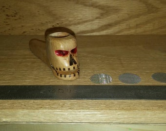 Wooden pipe hand carved skull pipe curly maple wood