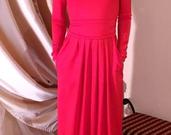 Red  Maxi Dress Round Neck Long Sleeves Pockets