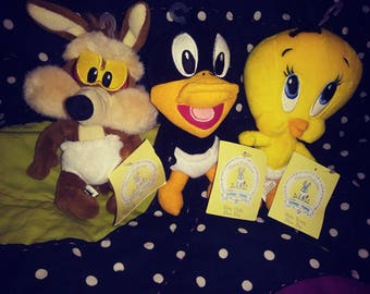 Vintage Baby Looney Tunes choose one or all tweety bird daffy duck and wile e coyote plushes